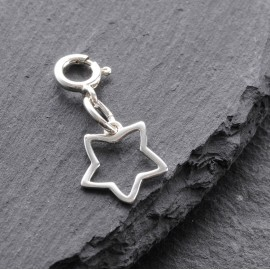 Sterling Silver Clip On Outline Star Charm