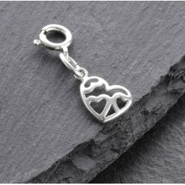 Sterling Silver Clip On Triple Heart Charm