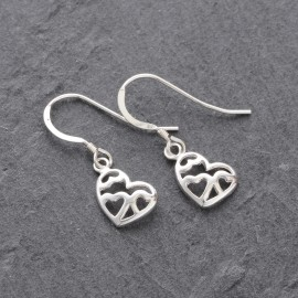 Sterling Silver Triple Heart Earrings