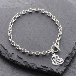 Sterling Silver Multi Heart Toggle Bracelet