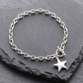 Sterling Silver Puffy Star Toggle Bracelet