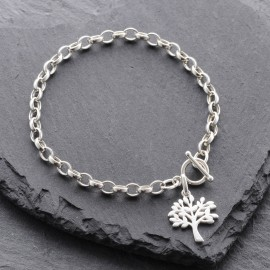 Sterling Silver Tree of Life Toggle Bracelet