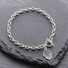 Sterling Silver Hamsa Toggle Bracelet