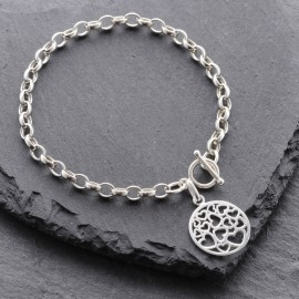 Sterling Silver Round Heart Toggle Bracelet