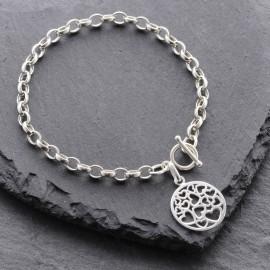 Sterling Silver Round Heart Toggle Bracelet