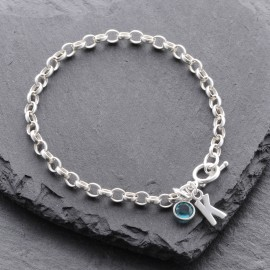 Sterling Silver Initial Toggle Bracelet