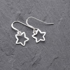 Sterling Silver Outline Star Earrings