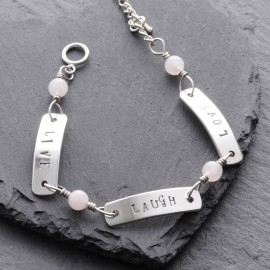 Sterling Silver Live Laugh Love Toggle Bracelet