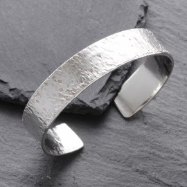 Sterling Silver Textured Cuff Bangle