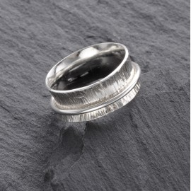 Sterling Silver Textured Spinny Ring