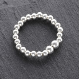 Sterling Silver Stretchy Beaded Ring