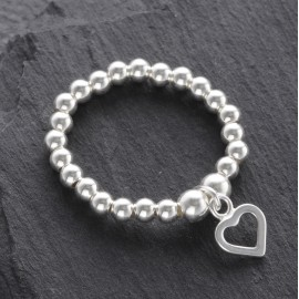 Sterling Silver Stretchy Beaded Outline Heart Ring