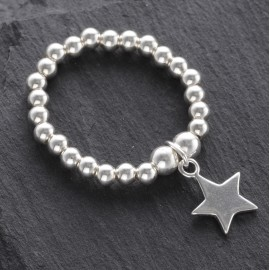 Sterling Silver Stretchy Beaded Star Ring