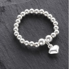 Sterling Silver Stretchy Beaded Puffy Heart Ring