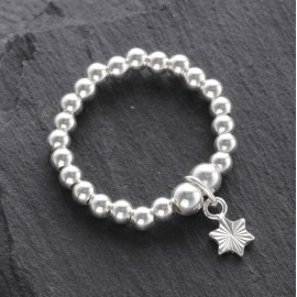 Sterling Silver Stretchy Beaded Cut Star Ring