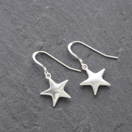 Sterling Silver Puffy Star Earrings