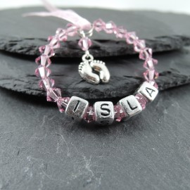 Swarovski New Baby Personalised Keepsake - Rose Pink