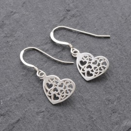 Sterling Silver Multi Heart Earrings