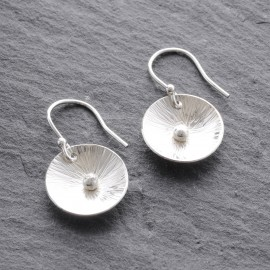 Sterling Silver Textured Domed Disc and Ball Earring