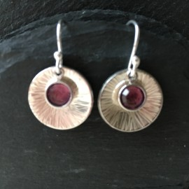 Swarovski and Textured Sterling Silver Disc Earrings Amethyst
