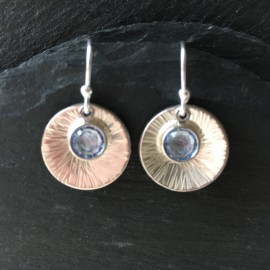 Swarovski and Textured Sterling Silver Disc Earrings Light Sapphire