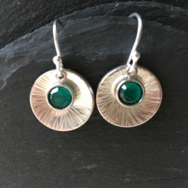 Swarovski and Textured Sterling Silver Disc Earrings Emerald