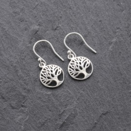 Sterling Silver Domed Tree of Life Earrings
