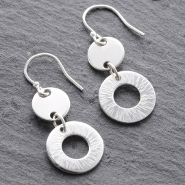 Sterling Silver Textured Disc Washer Earrings