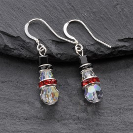Swarovski Christmas Earrings - Snowman