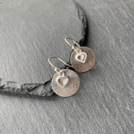 Sterling Silver Textured Disc and Heart Earrings