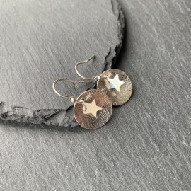 Sterling Silver Textured Domed Disc with Star Earrings