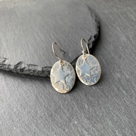 Sterling Silver Textured Oval with Star Earrings
