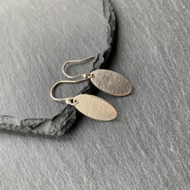 Sterling Silver Textured Thin Oval Earrings