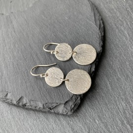 Sterling Silver Textured Disc Earrings