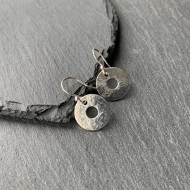 Sterling Silver Textured Small Washer Earrings