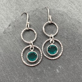 Swarovski and Textured Sterling Silver Rings Earrings Emerald