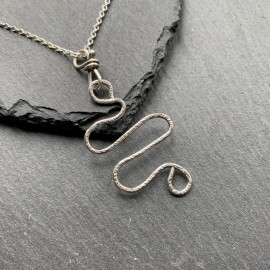 Sterling Silver Textured Squiggle Pendant
