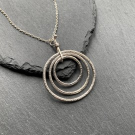 Sterling Silver Textured Circles Pendant