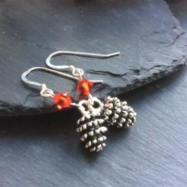 Pine Cone Charm Earrings