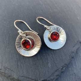 Swarovski and Textured Sterling Silver Disc Earrings Siam