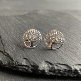 Sterling Silver Studs - Tree of Life Round
