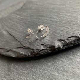 Sterling Silver Studs - Star and Moon