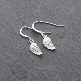 Sterling Silver Angel Wing Fluffy Earrings
