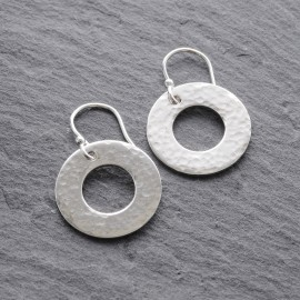Sterling Silver Textured Washer Earrings