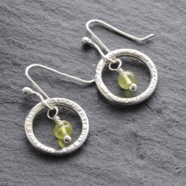 Sterling Silver Textured Ring with Peridot Earrings