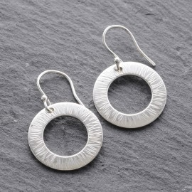 Sterling Silver Textured Washer Earrings (2)