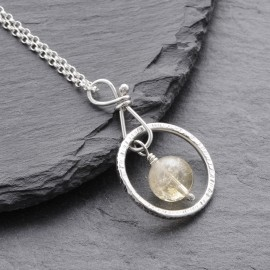 Sterling Silver Ring with Citrine Pendant