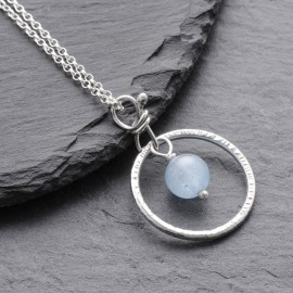 Sterling Silver Ring with Aquamarine Pendant