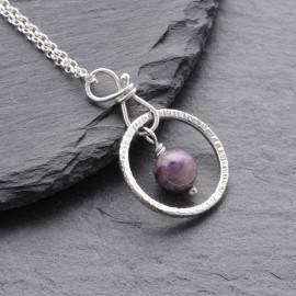 Sterling Silver Ring with Charoite Pendant