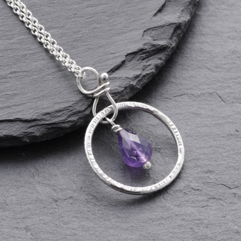 Sterling silver ring with amethyst pendant aloadofball Images